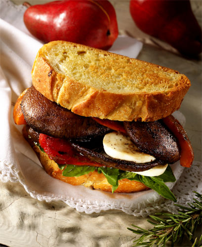 lisa bishop food stylist- portobello, pepper and fresh mozzarella sandwich