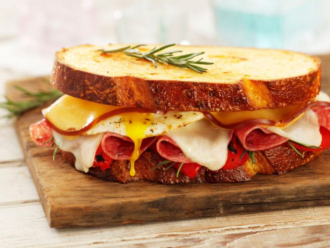 lisa bishop food stylist- egg, salami and cheese sammie
