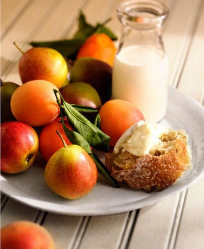 lisa bishop food stylist- country brie, seckel pears and apricots