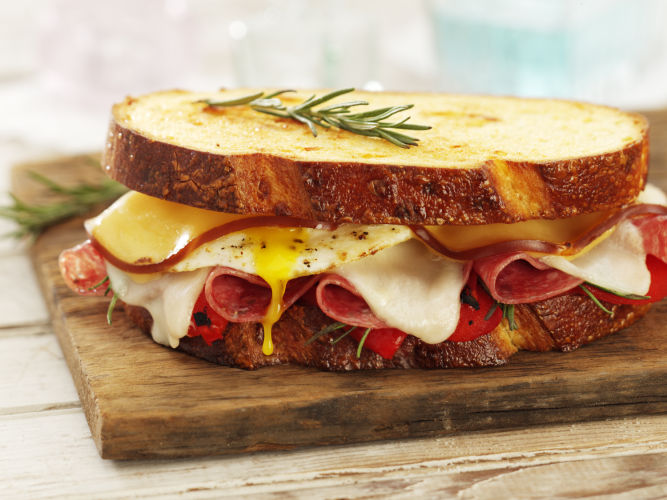 lisa bishop food stylist- egg, salami and cheese sammie