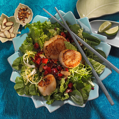 lisa bishop food stylist- scallop salad with ginger lime wasabi dressing