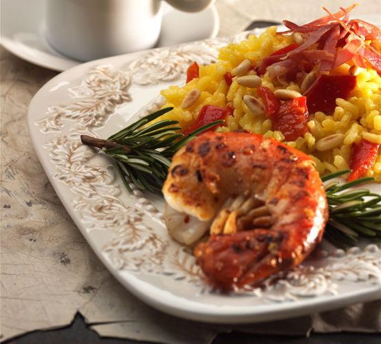 lisa bishop food stylist- grilled shrimp and  risotto with prosciutto