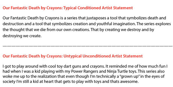 Our Fantastic Death by Crayons: Artist Statement