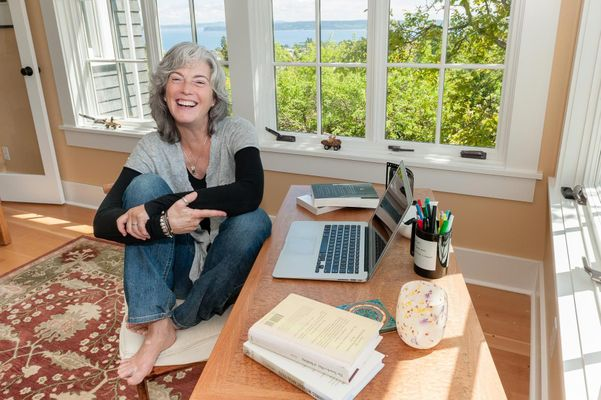 Erica Bauermeister, Author, in Her Sunny Writer's Studio