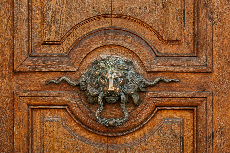 Lions head door knocker, Paris, France