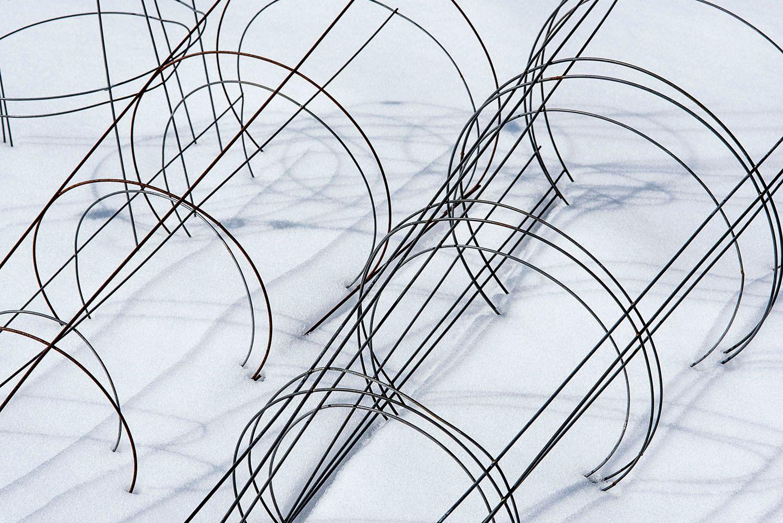 Circular garden fencing against snow