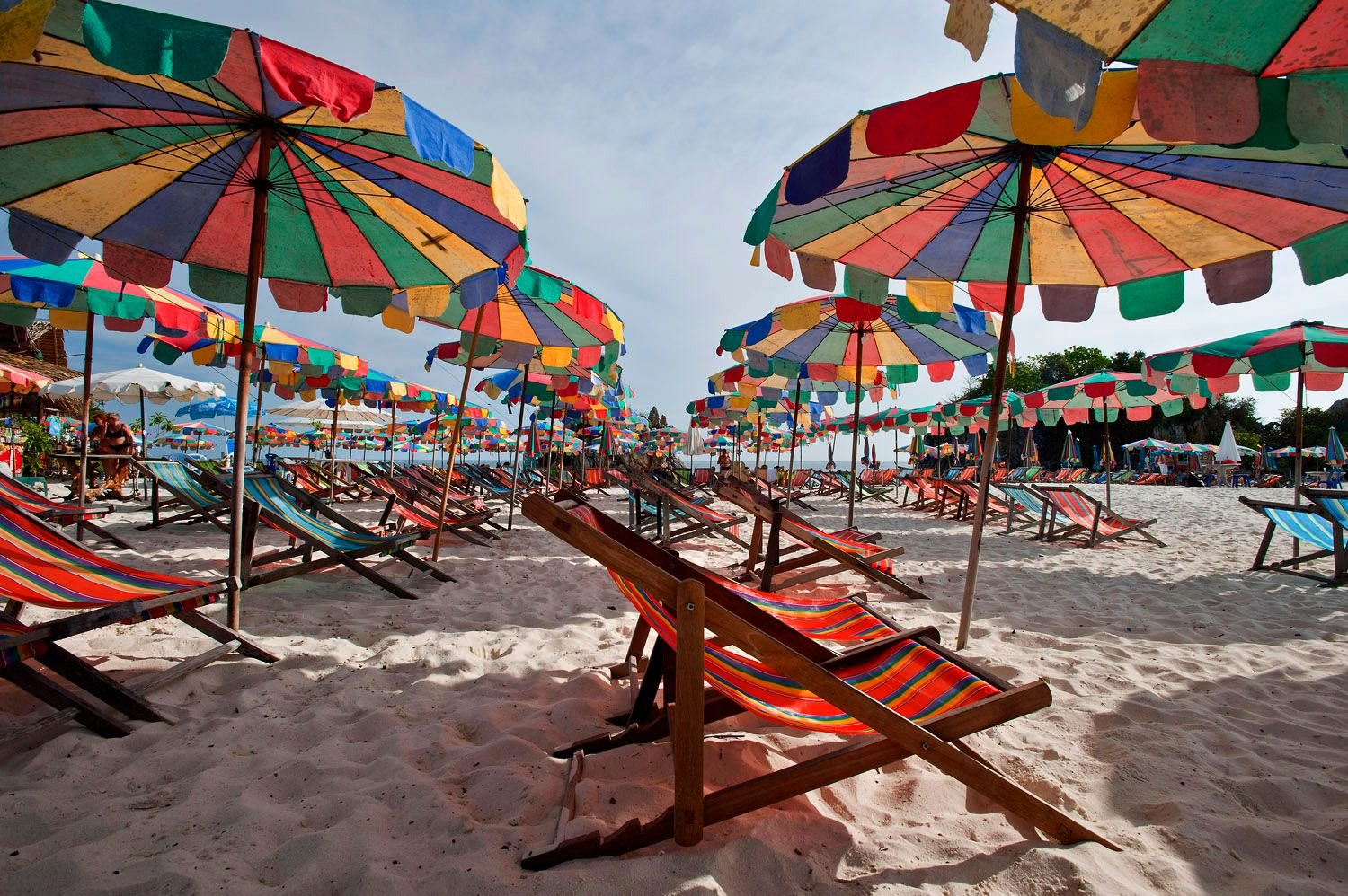 Beach chairs and beach umbrellas