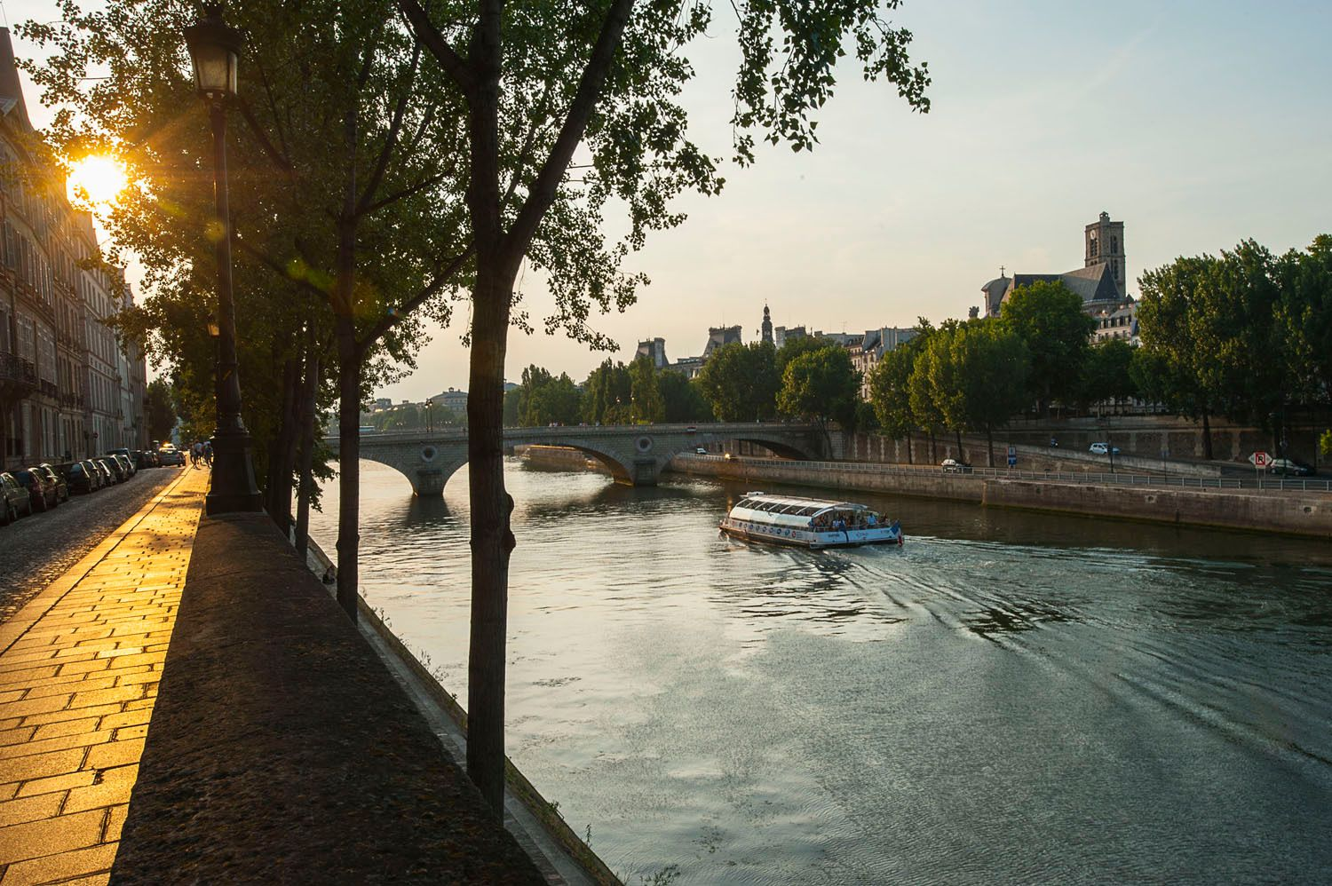Sunset over the Seine River, Paris, France