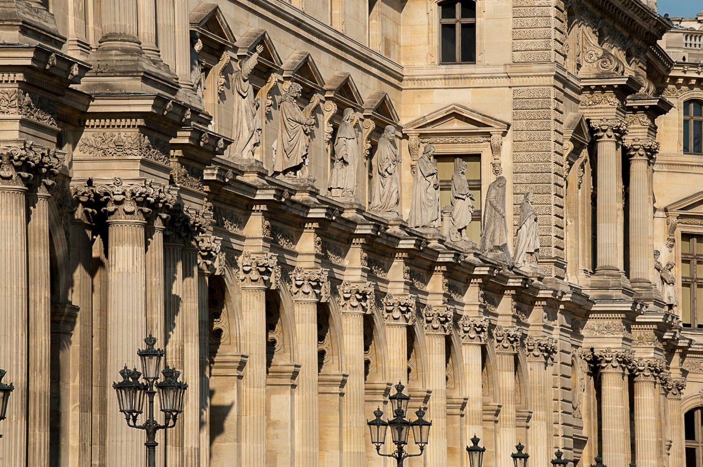 Exterior detail of The Louvre Museum, Paris, France