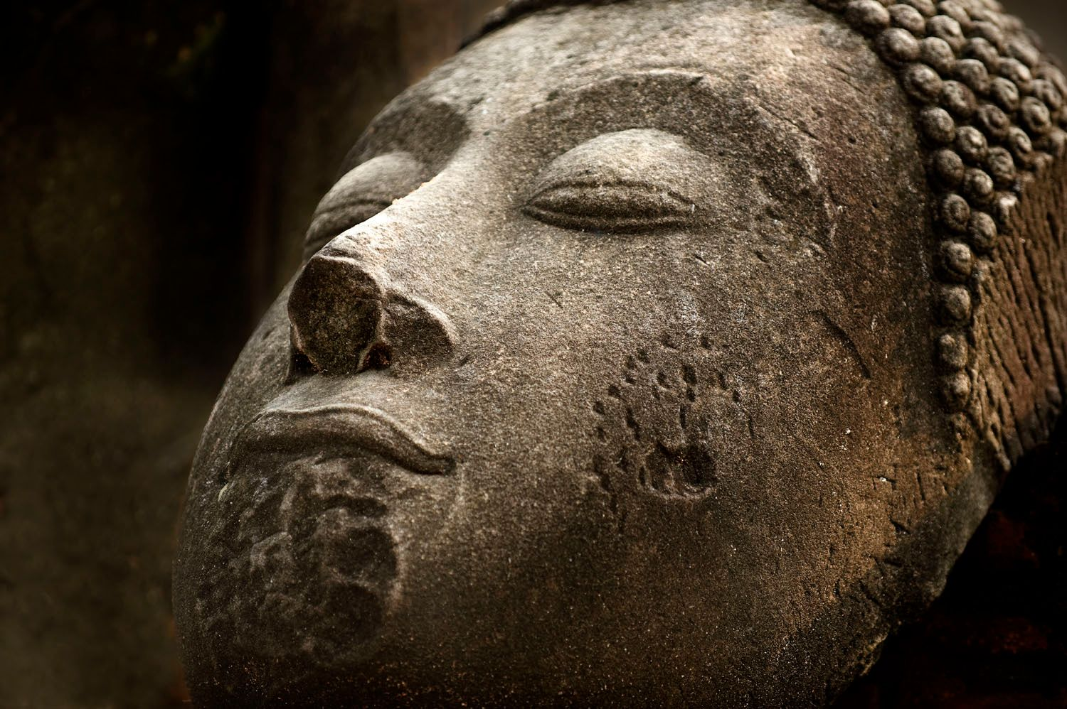Stone Buddha Head against Wall