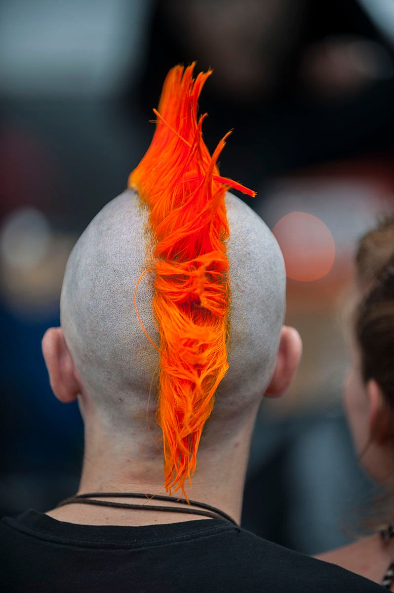 Orange Spiked Mohawk Haircut