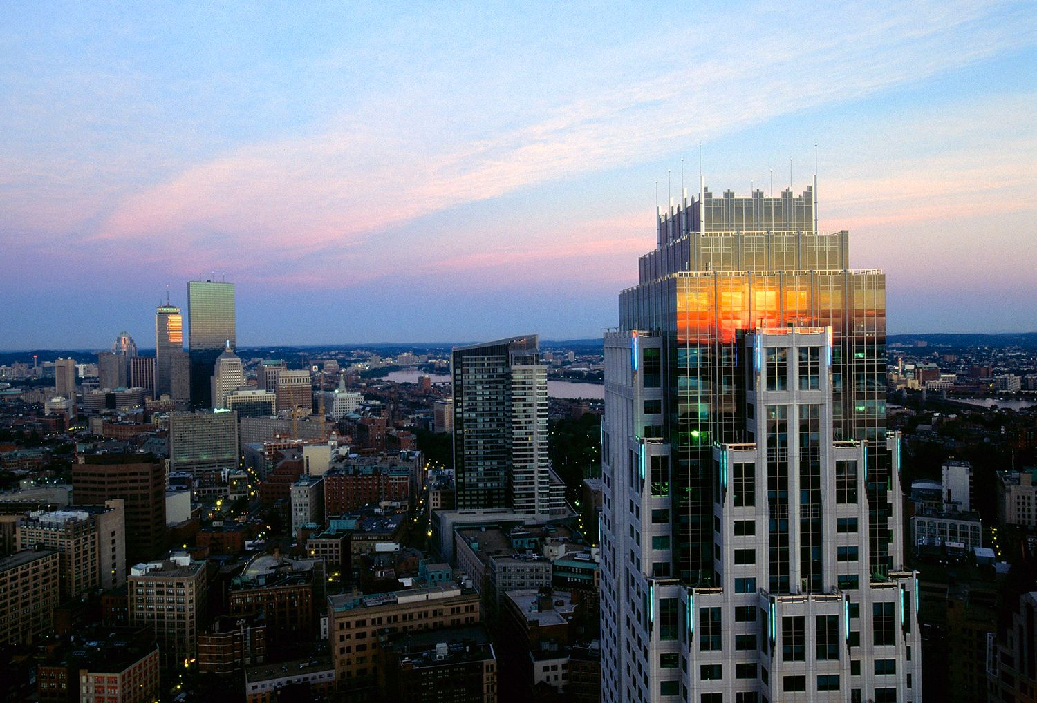 Aerial view of Boston sunrise