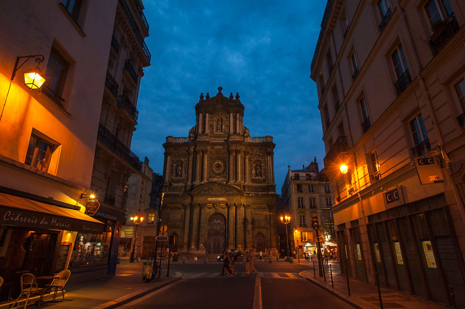Saint Paul Church at dusk, Le Marais, Paris, France
