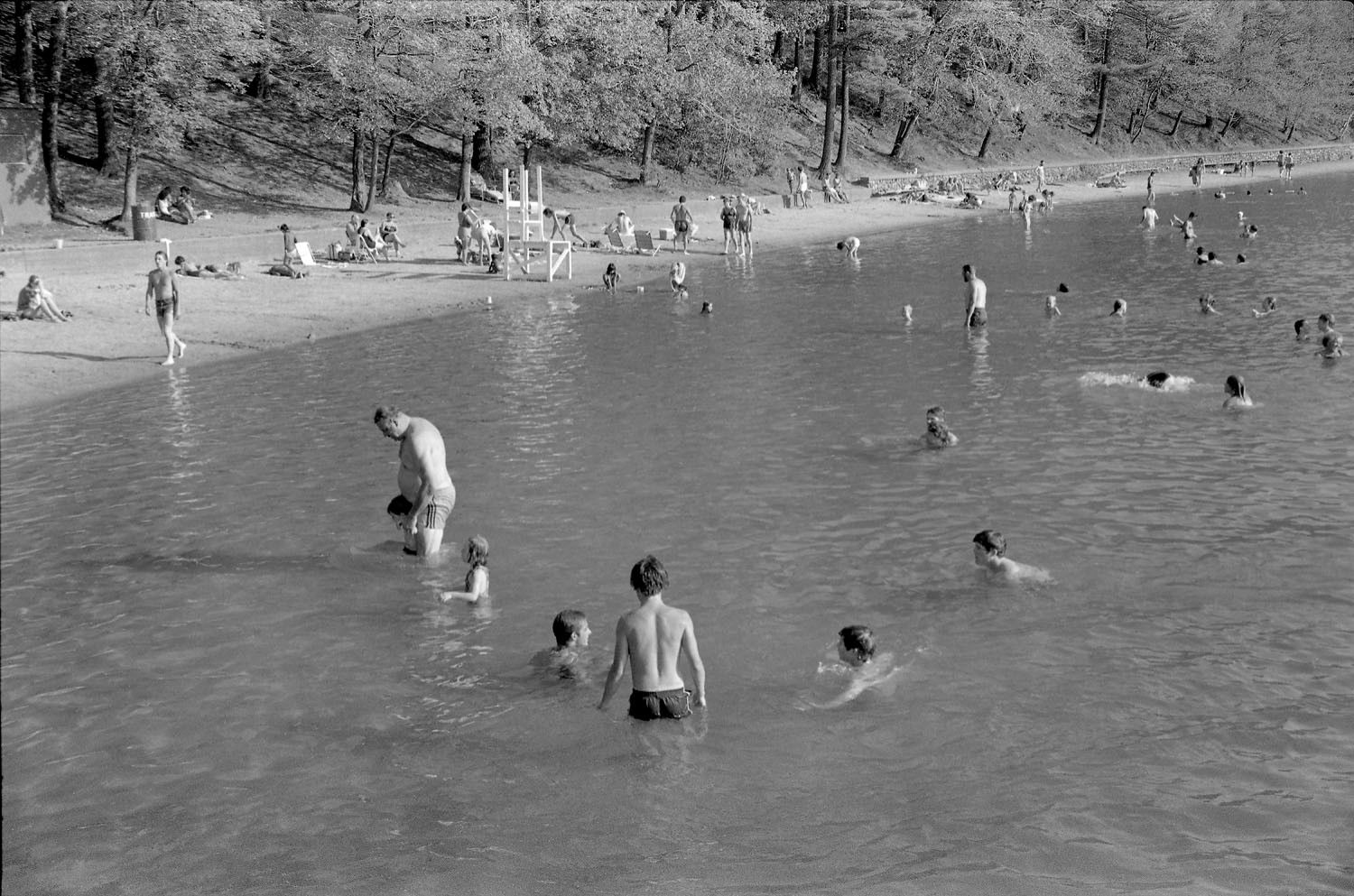 People Swimming in Walden Pond