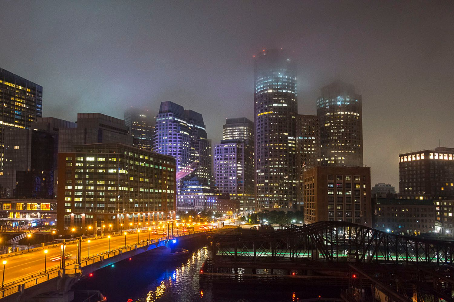 Boston at night in the fog