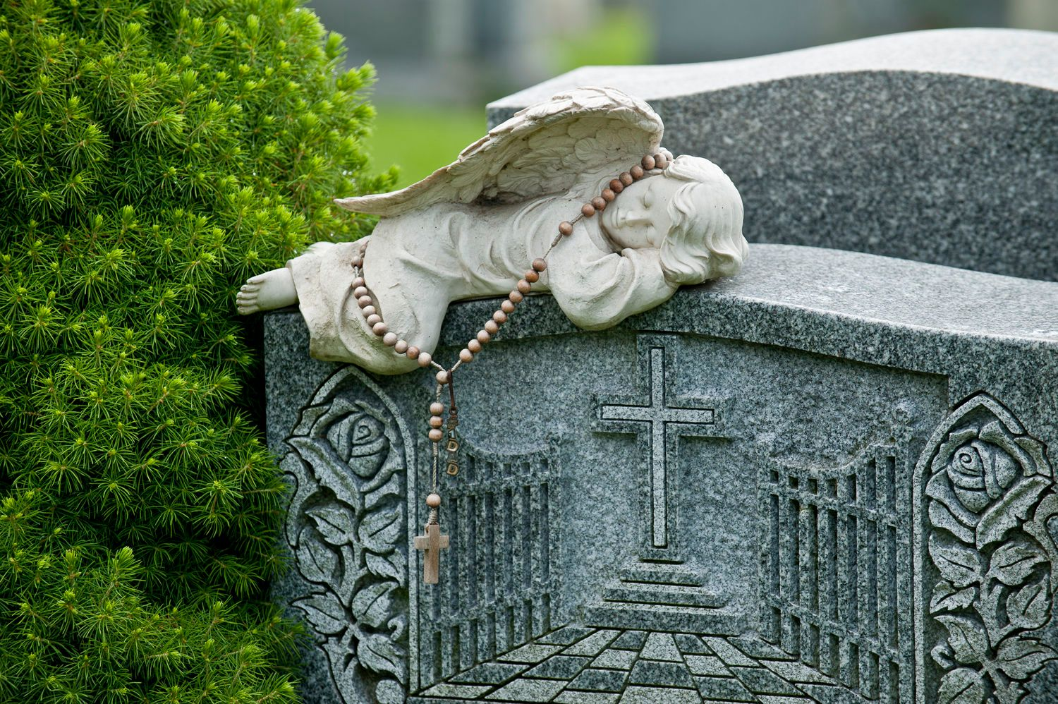 Sleeping angel on cemetery gravestone