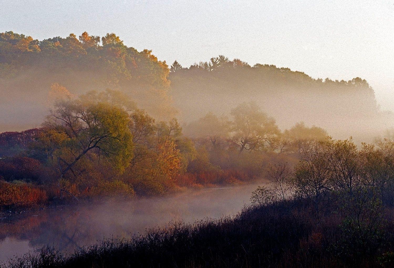 Sudbury River in Autumn with Fog