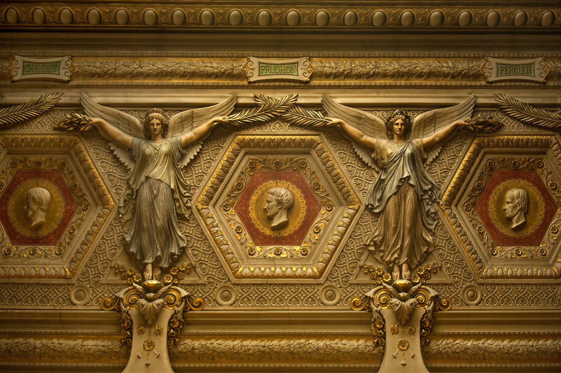 Interior detail with winged angels, Louvre Museum, Paris, France