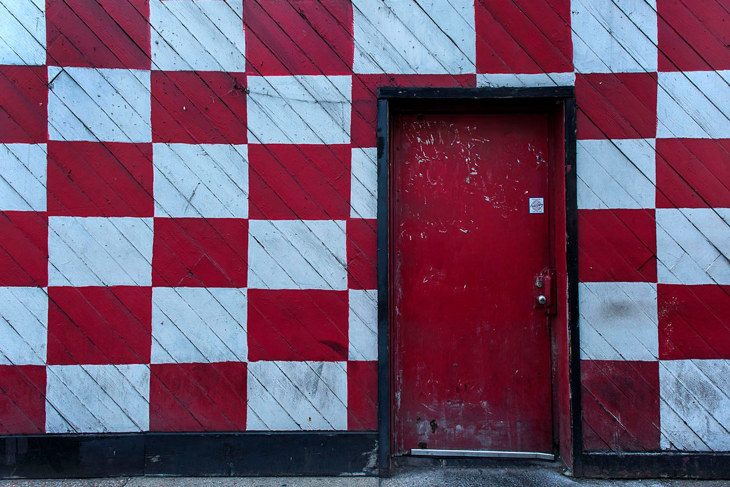 Red, white and black wall. Detroit, Michigan