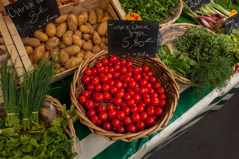 Vegetables at The Bastille Food Market, Paris, France