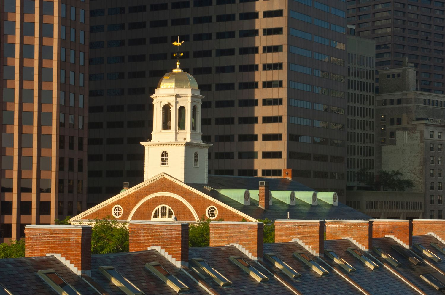 Faneuil Hall market and downtown Boston