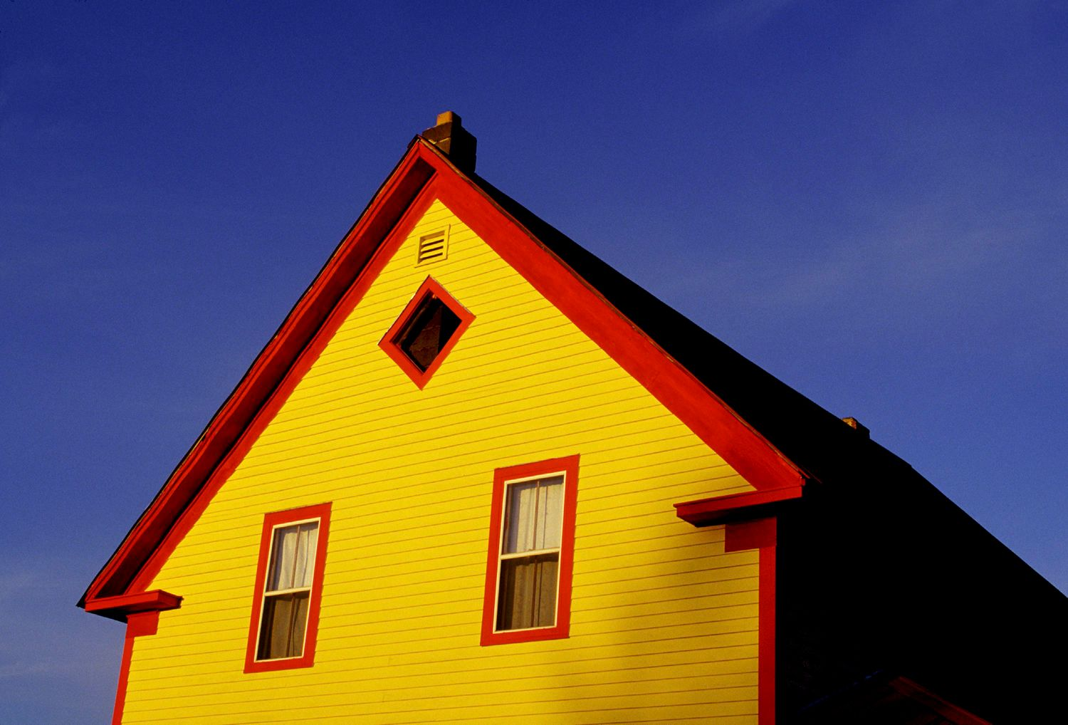 Red Trim and Yellow Painted House