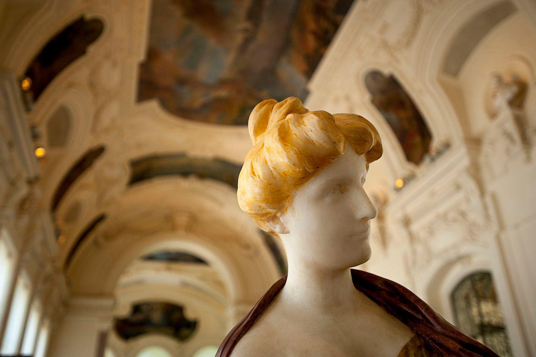 Painted Marble Statue in Petit Palais, Paris, France