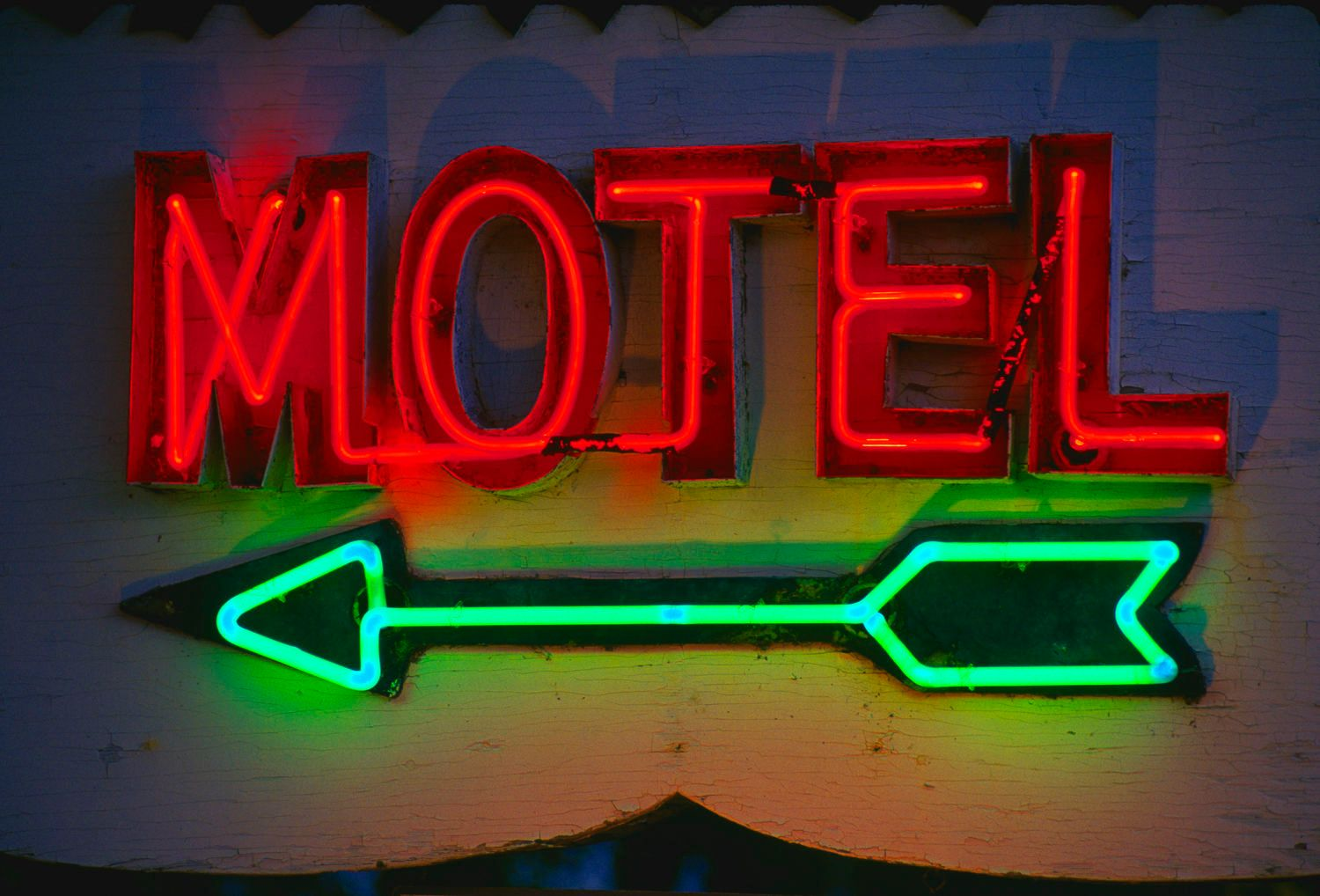 Neon Motel Sign and with green arrow