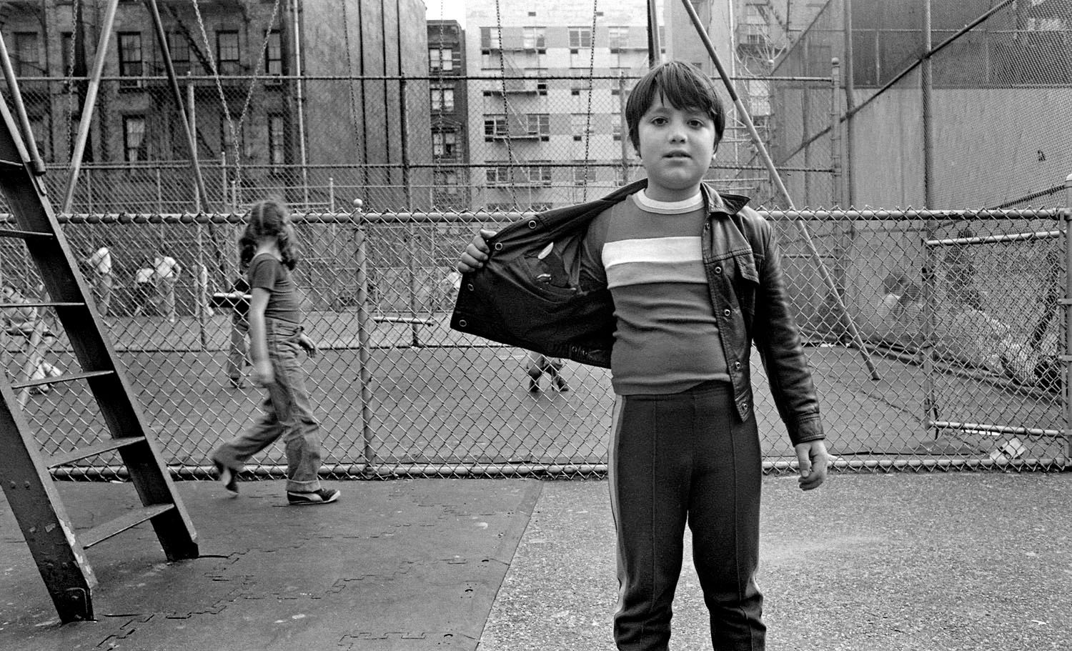 Boy in Playground with Gun
