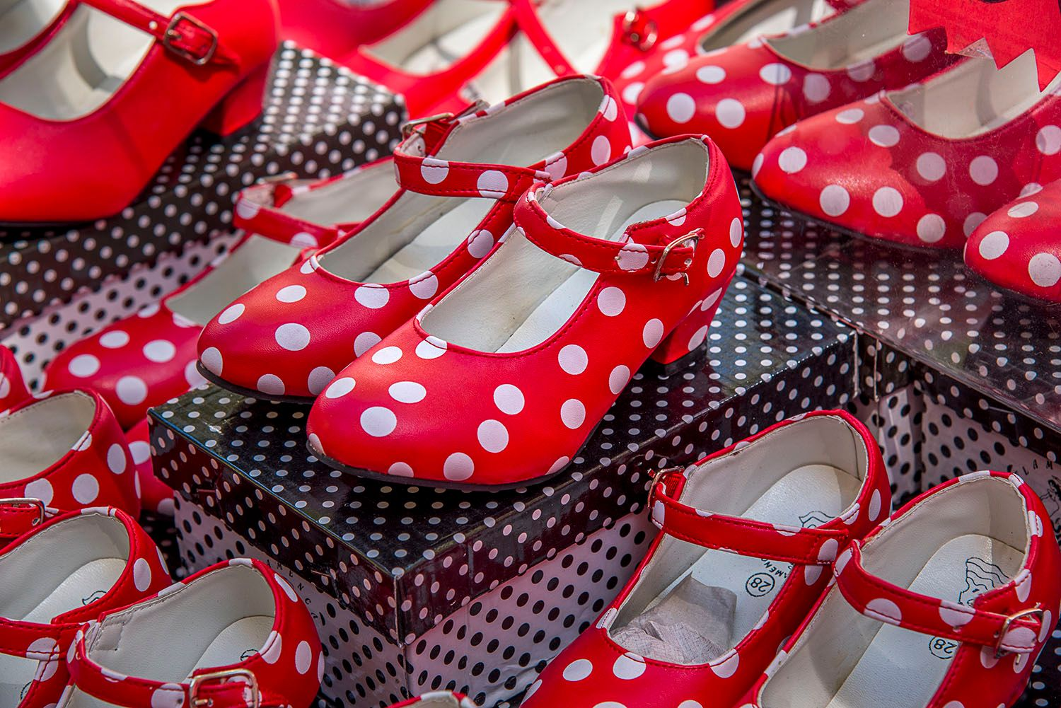 Red with white polka dot girls shoes