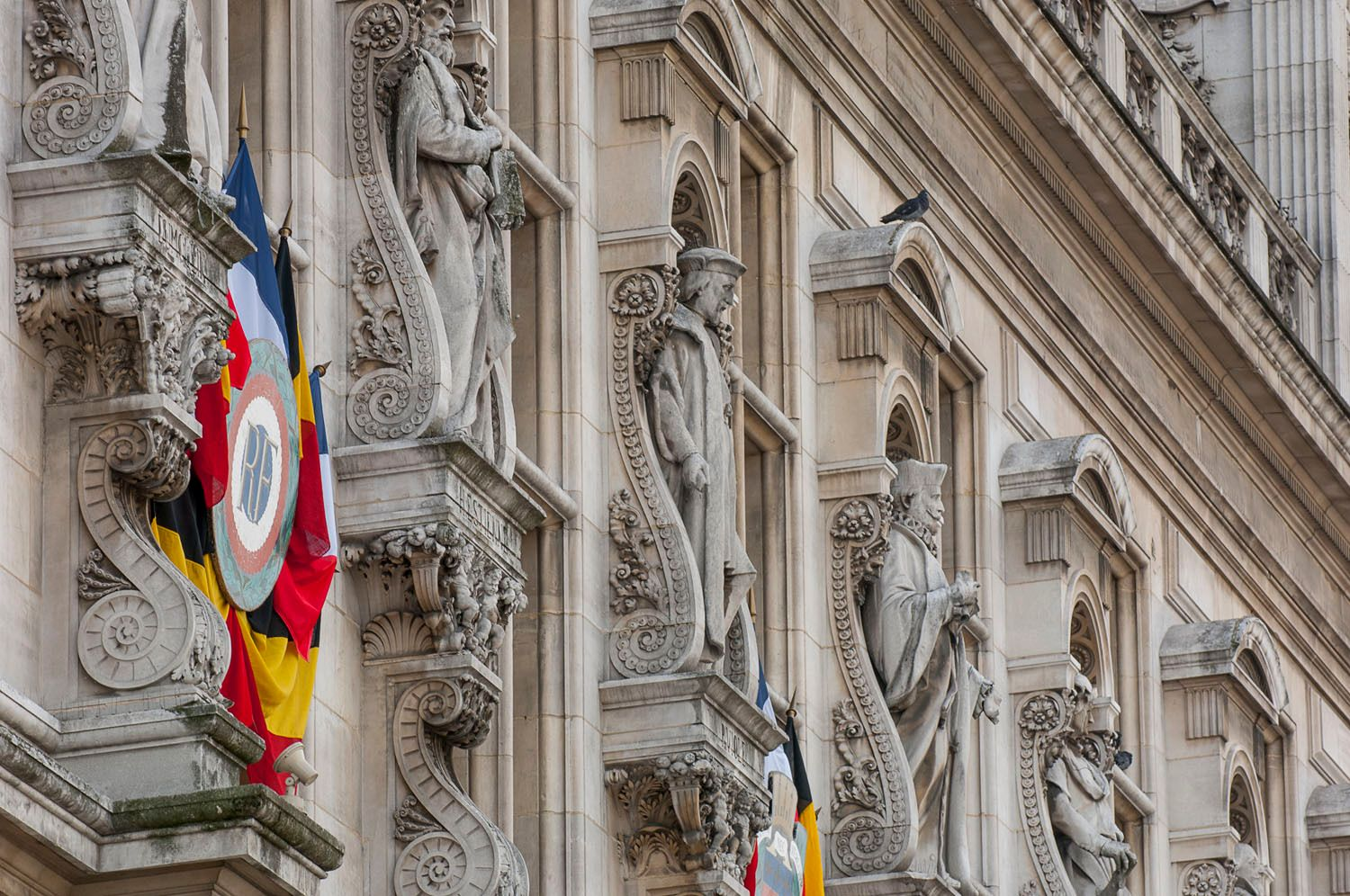 Statues on exterior of Paris City Hall, France