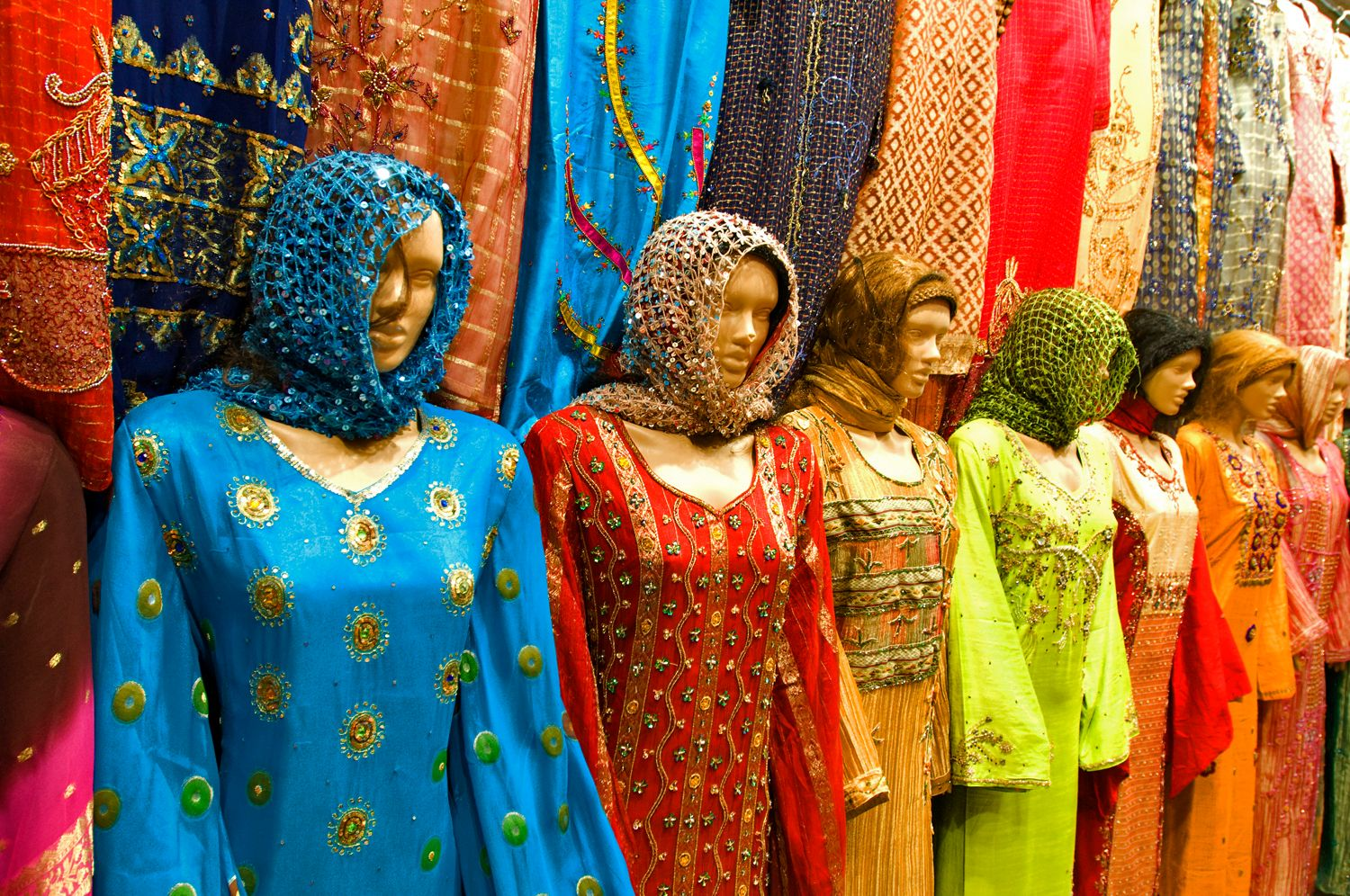Female Mannequins Wearing Head Scarfs