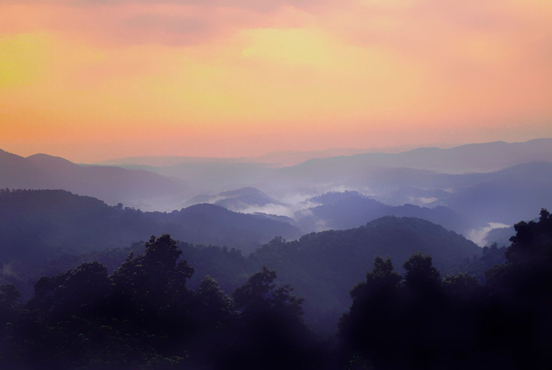Sunrise over the Blue Ridge Mountains in Shenandoah National Par
