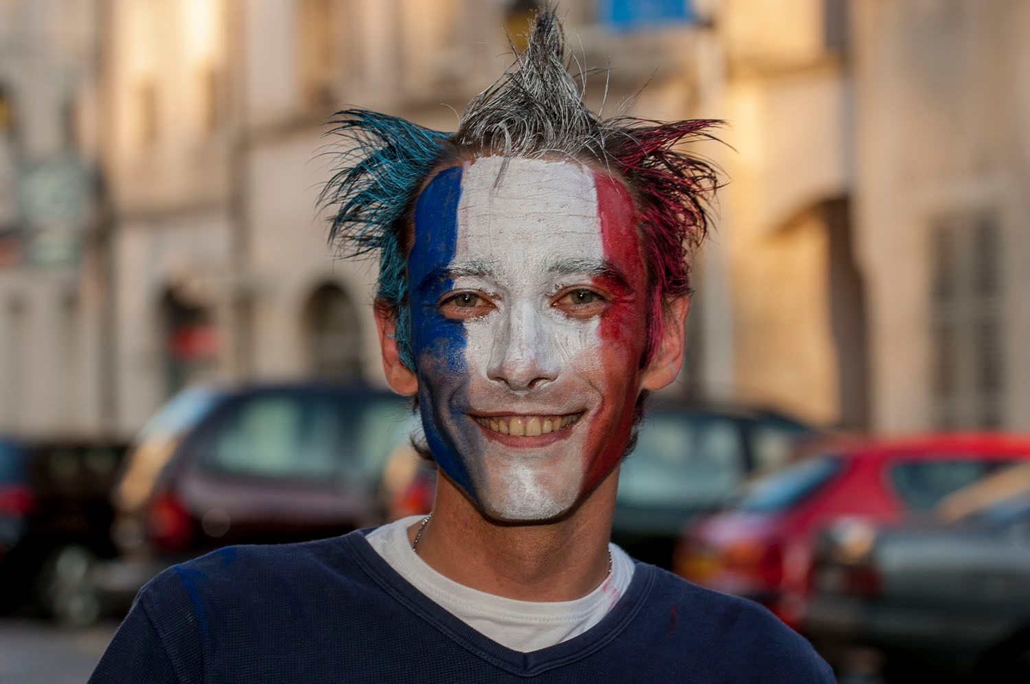 Painted face with French Flag and Colors