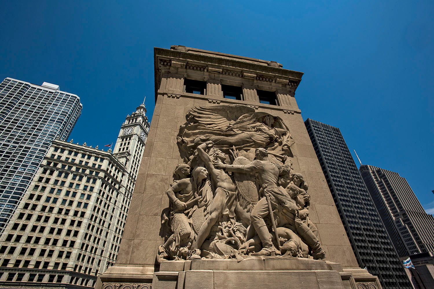 Defence sculpture portrays the Fort Dearborn Massacre, Chicago,