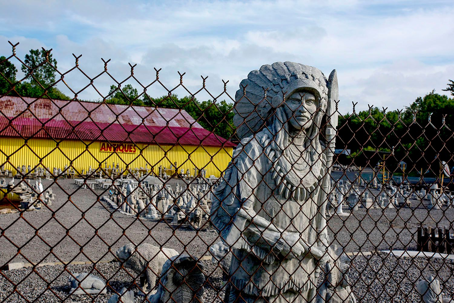 American Indian Chief Stands Guard