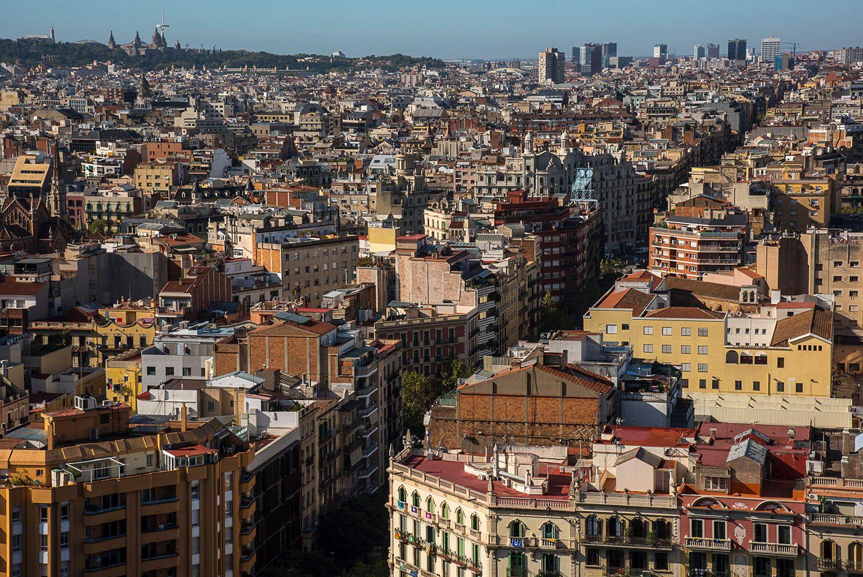 Birds eye view over Barcelona