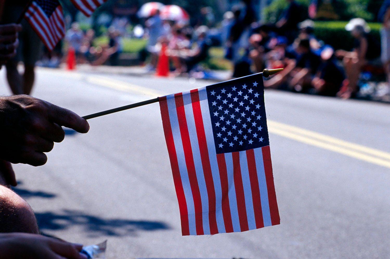 American Flag at July 4th Day Parade