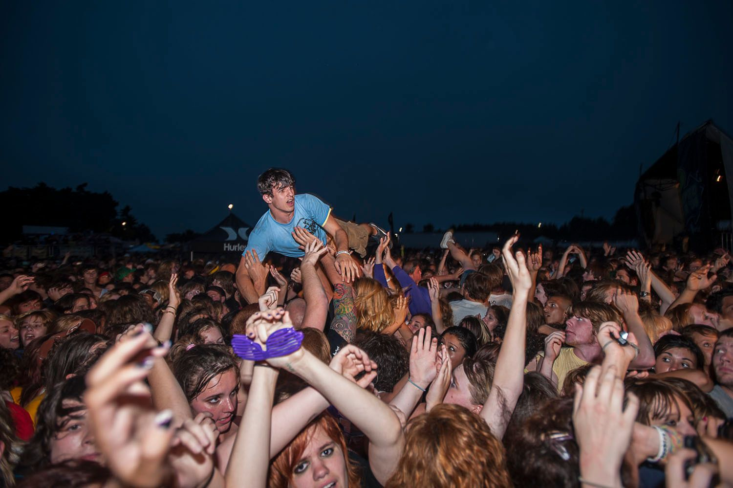 Crowd surfing at the concert