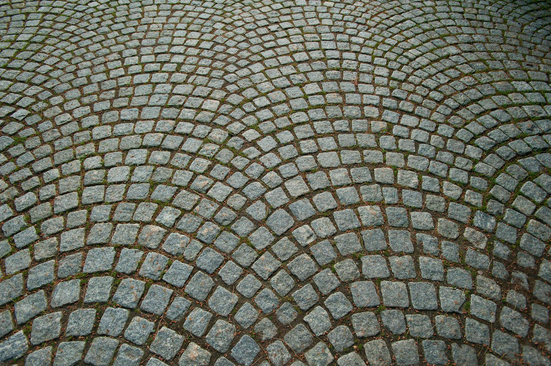 Cobblestone pattern on road