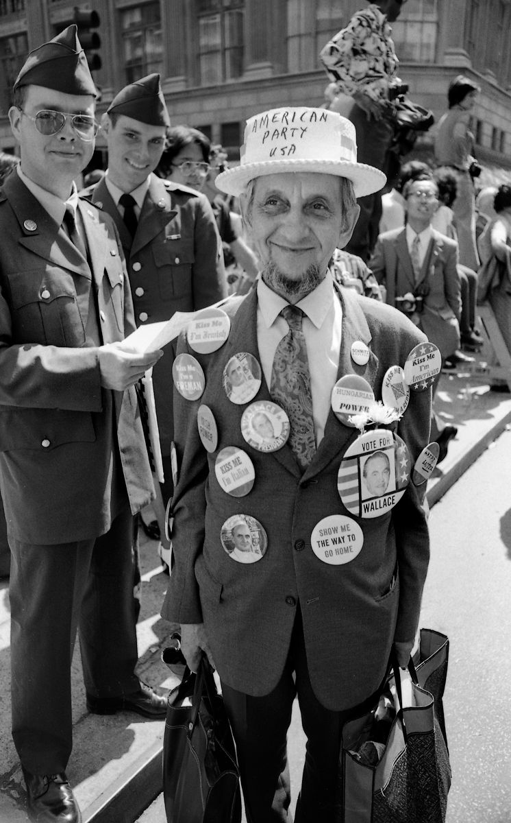 Man with  Political Buttons