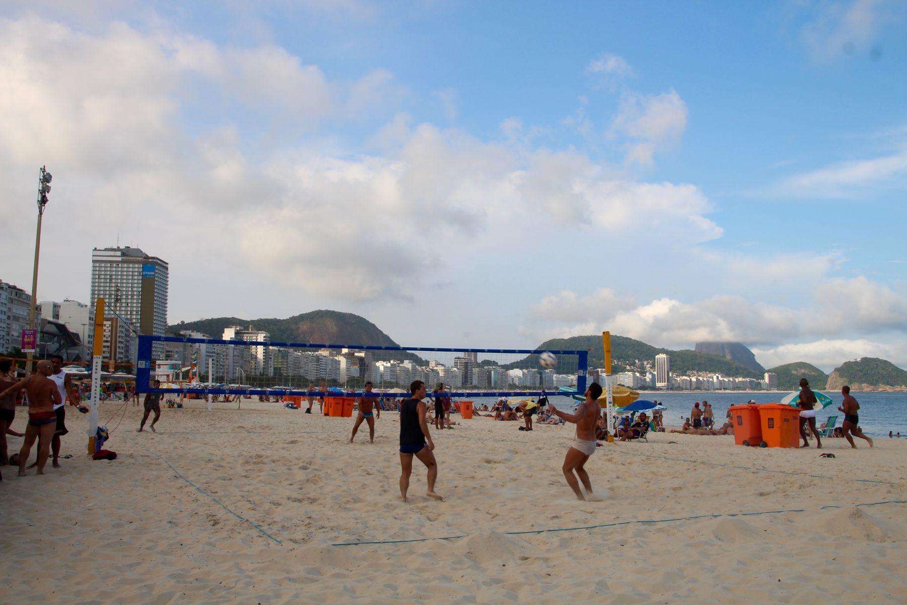 Cariocas (Rio de Janeiro natives) play footvolley in Copacabana.
