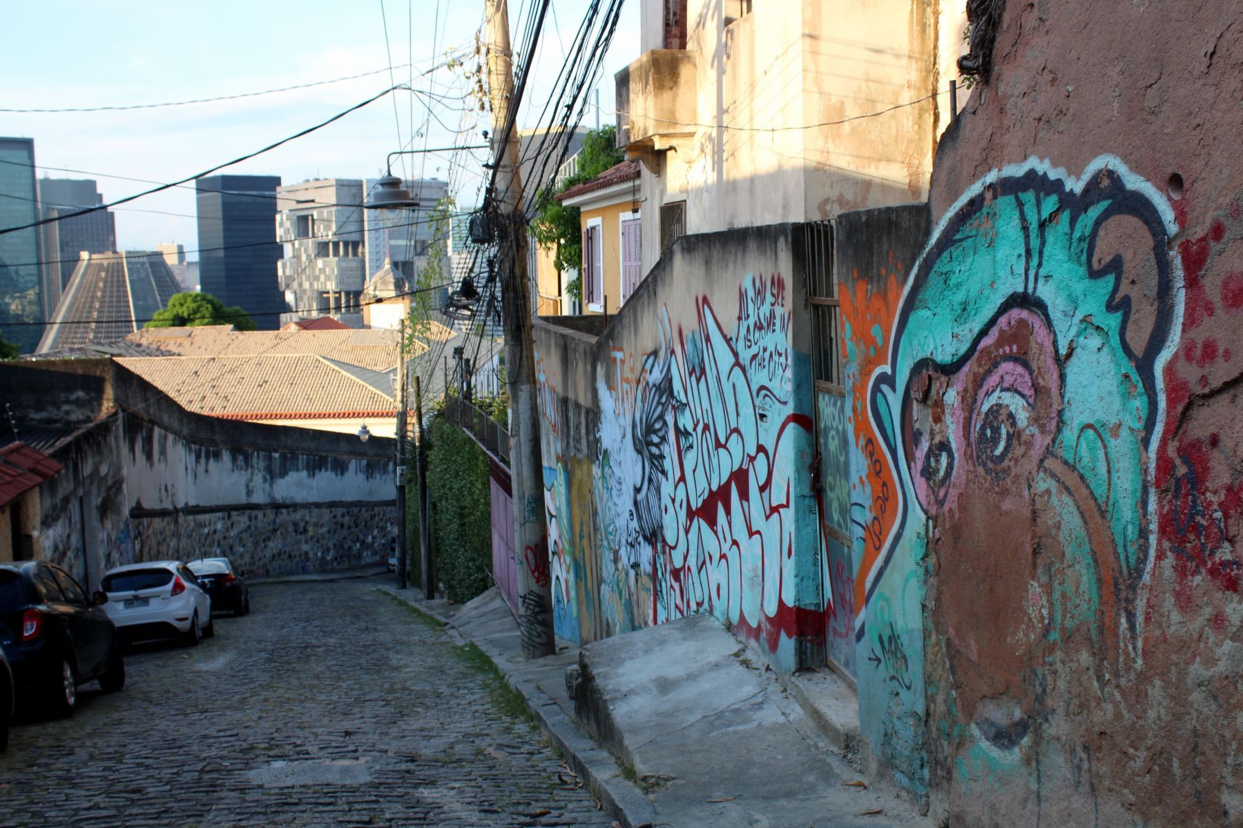 Colorful graffiti adorns the streets of Santa Teresa.