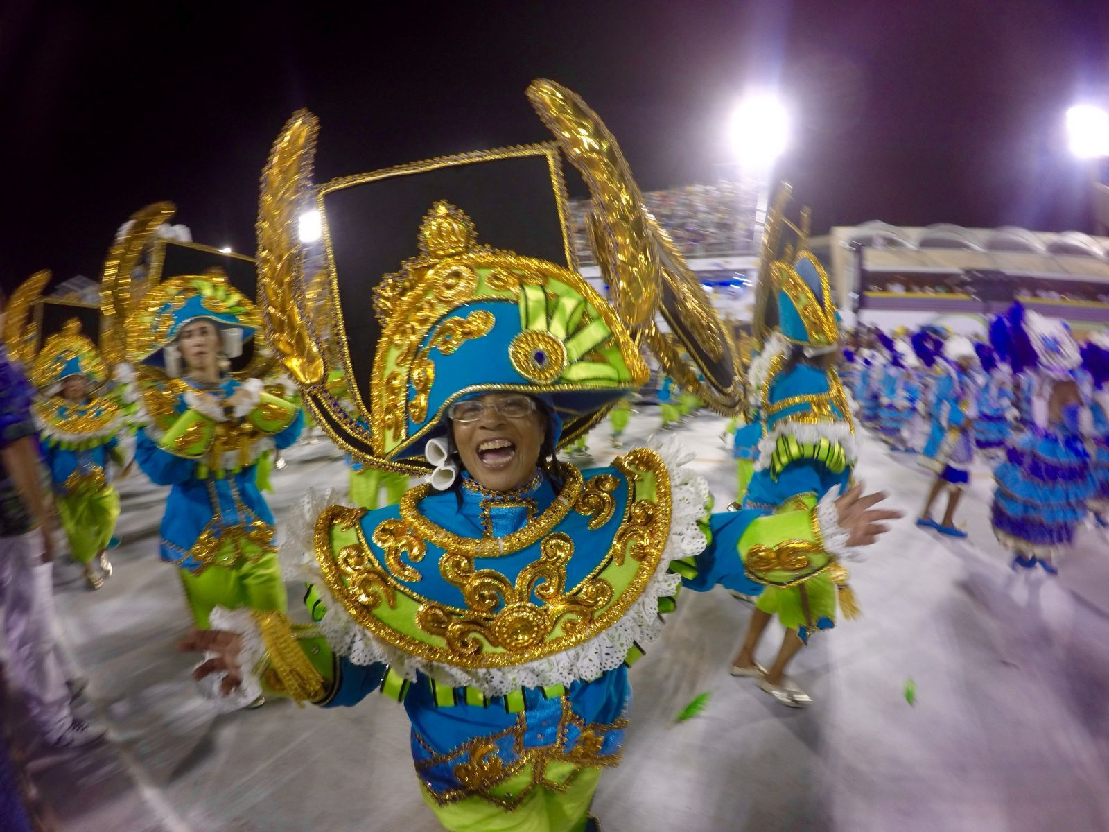 Members of Rio's samba schools don intriciate and colorful costumes and dance the night away in the Sambodrome until the wee hours of the morning.