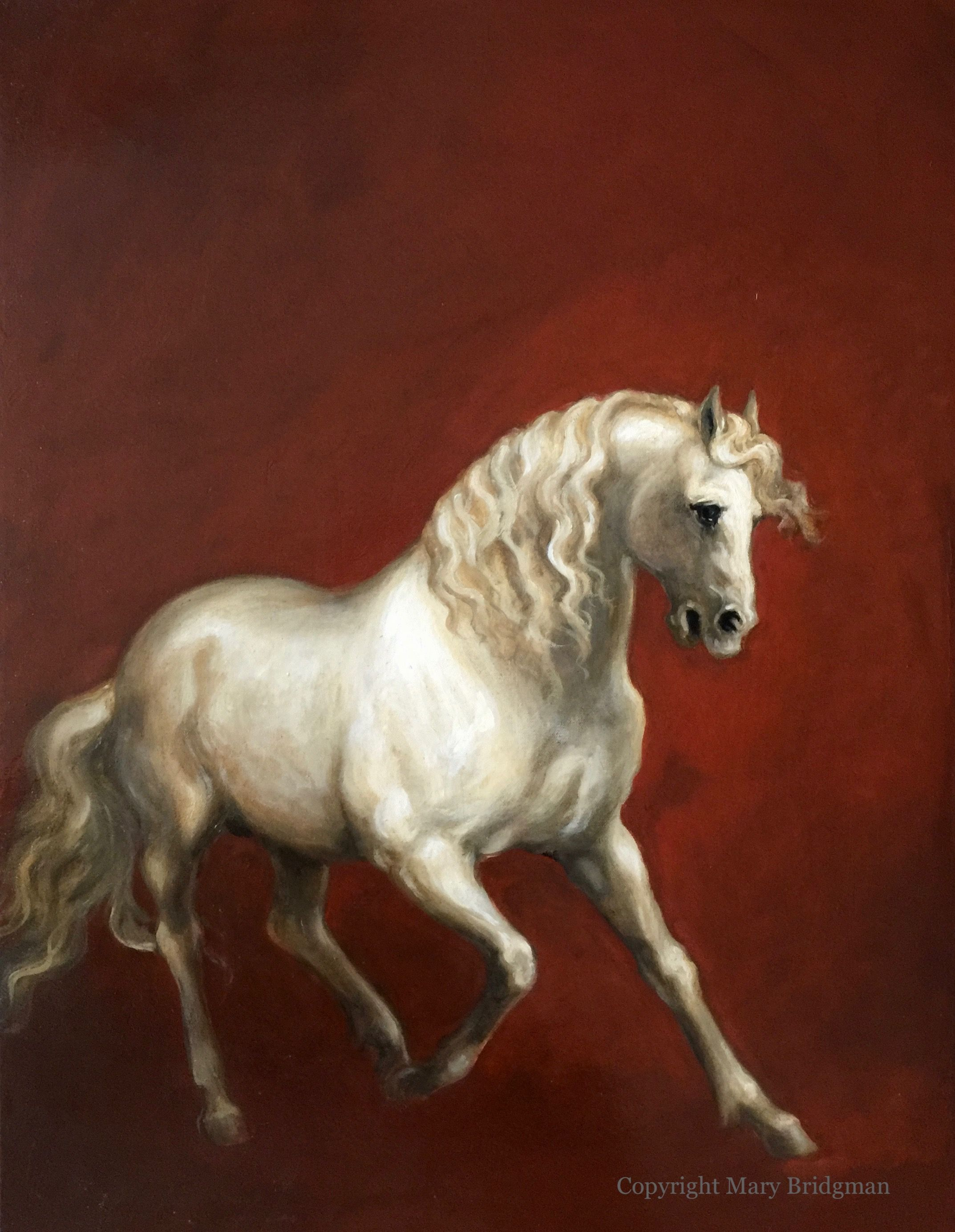 White Horse on Red