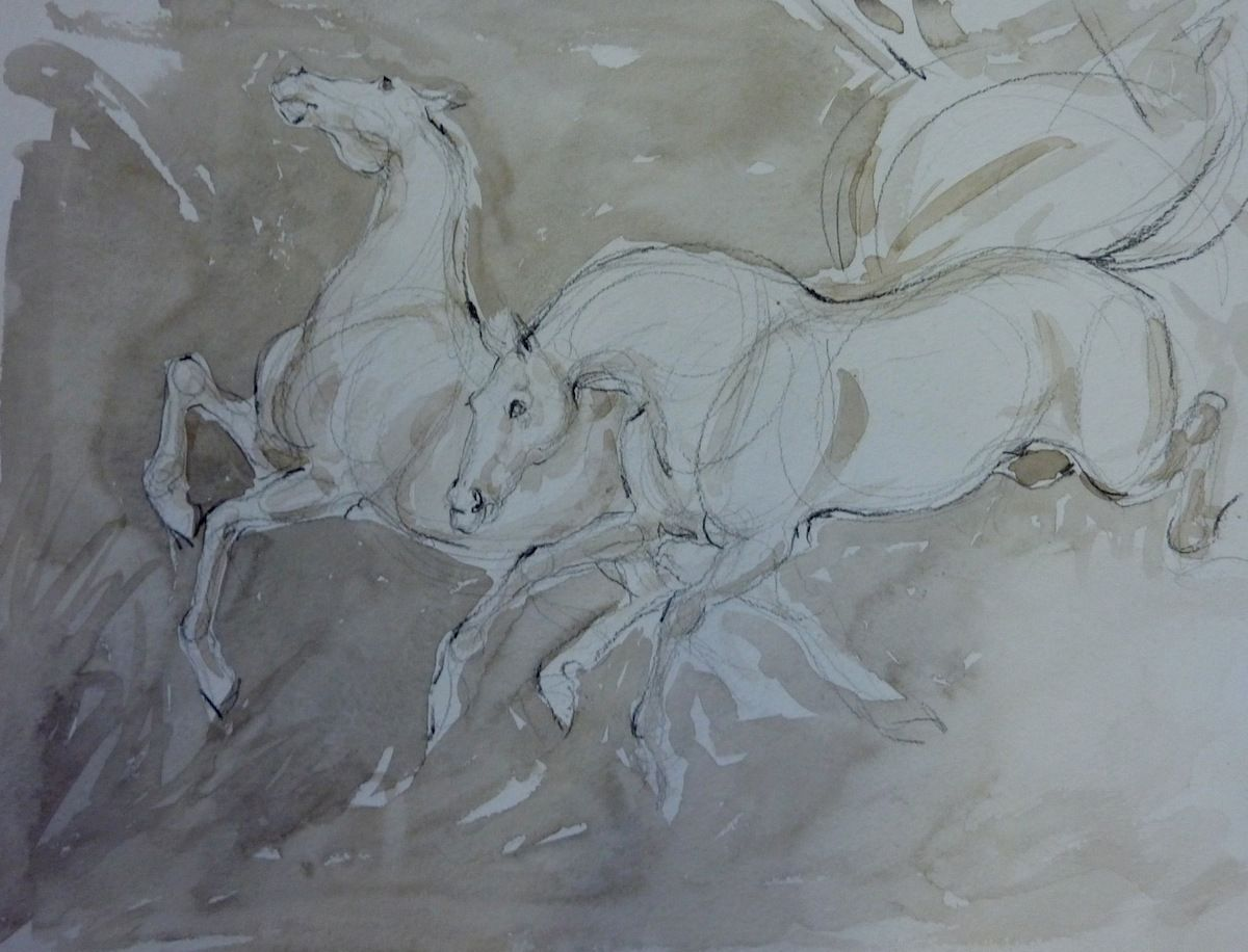 Two Horses Pulling a ChariotAida