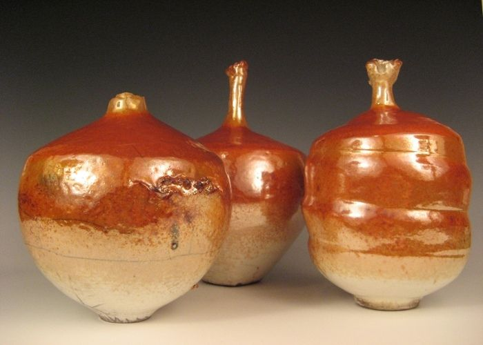 Three Gold-orange Luster Raku Vases