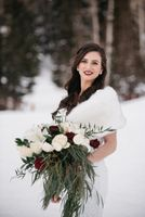 Bride with her winter bouquet