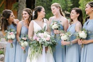 Bride with Bridesmaids and their bouqeuts
