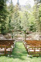 Mountain wedding ceremony outside